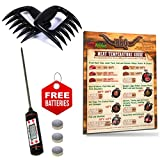 Intel Kitchen BBQ Accessories Tool Gift Set: Best Design Meat Temperature Guide Magnet 8.5''x11'' + Highly Accurate Digital Meat Thermometer + 2 Bear Claws Meat Shredders for Pulled Pork Set