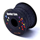 (US) EMMAKITES 100% Braided Kevlar String Black 100ft 300lbs High Tensile for Outdoor Activities, Tactical, Survival and other General Purpose