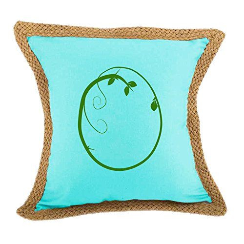 ''O '' Wood Branch Green Monogram Letter O Bed Home Decor Faux Linen Pillow Cover Turquoise