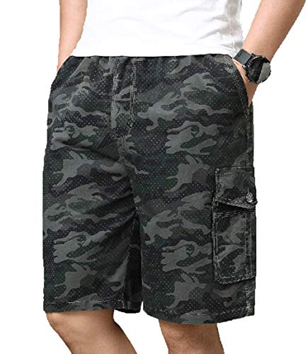 Men's Elastic Waist Classic-Fit Camouflage Cargo Shorts