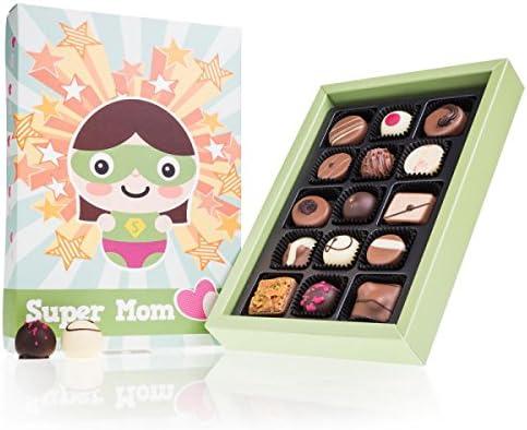 Super Mom Deluxe - 15 Chocolates | Idea de regalo | cumpleaños | Chocolate | Bombones | Dia de la madre | Mama | Mamá | día de la madre | Praliné | sabores | Navidad | Dulces navideños