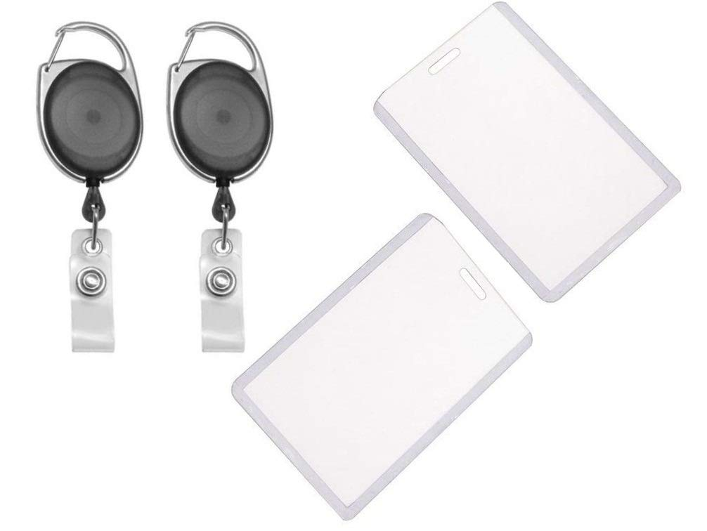 Generic I.D. Card Retractable Holder Badge Yo Yo Clip + Vertical Card Holder [Pack Of 2] (Black Vertical) (B073SSKWDK) Amazon Price History, Amazon Price Tracker