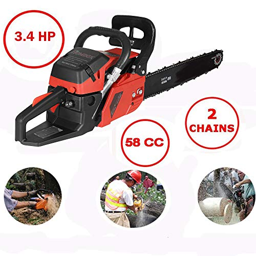 20 Inch Chainsaw 52cc/58cc Petrol Chain Saw, 3.4HP, 2-Stroke Gas Powered Chain Saw with Carring Bag, Tool Kit, Fuel Mixing Bottle, Manual (58cc-R)