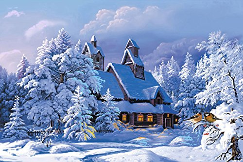 21secret 5D Diamond Diy Painting Full Drill Handmade Snow Covered Forests and House Winter Landscape Cross Stitch Home Decor Embroidery Kit