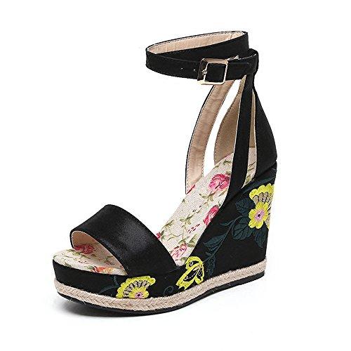 Ajunr Moda/elegante/Transpirable/Sandalias Ajunr Moda/elegante/Transpirable/Sandalias Folk style zapatos tacones cuñas suela gruesa impermeable de boca de pescado zapatos de verano retro bordados black