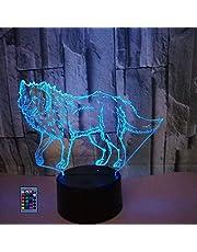 Creatieve 3D Wolf Nachtlampje USB Aangedreven Afstandsbediening Raak Schakelaar Decor Tafellamp 7/16 Kleur Veranderende LED Tafellamp Verjaardagscadeau Kinderen Cadeau Decor Cadeau Kerst Decoratie
