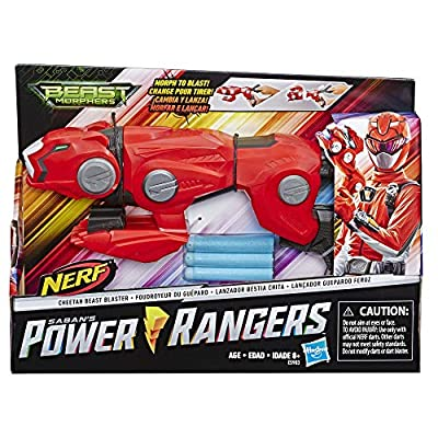 Power Rangers Beast Morphers Cheetah Beast Blaster from TV Show Red Ranger Roleplay Toy, Includes 3 Nerf Darts: Toys & Games