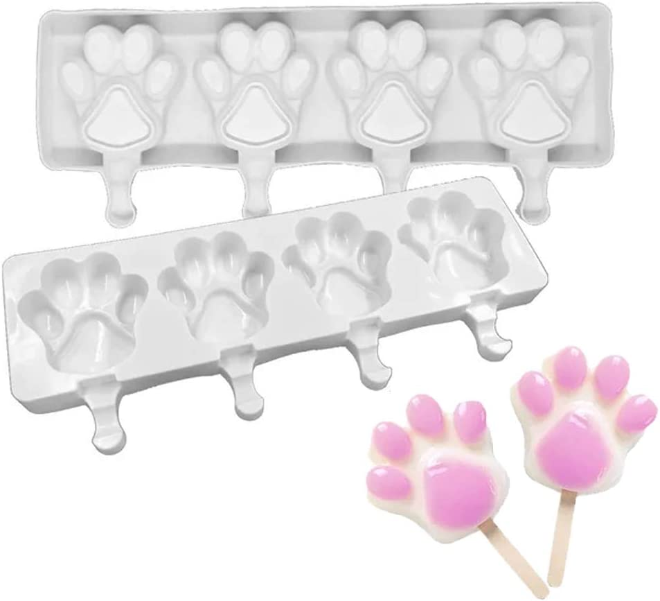Cnorialy Silicone Popsicle Molds 4 Hole Bear Paw Shaped Ice Pop Molds Homemade BPA Free Ice Pop Maker Home Kitchen DIY Tools Reusable