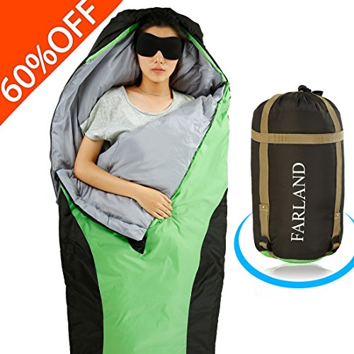 FARLAND Lightweight Sleeping Bag & Portable Waterproof Mummy Bag With Compression Sack -Perfect for Summer Traveling, Camping, Hiking,Outdoor Activities (Green & Black / Right Zip)