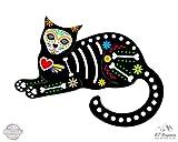 #8: GT Graphics Sugar Skull Cat Sitting - Vinyl Sticker Waterproof Decal