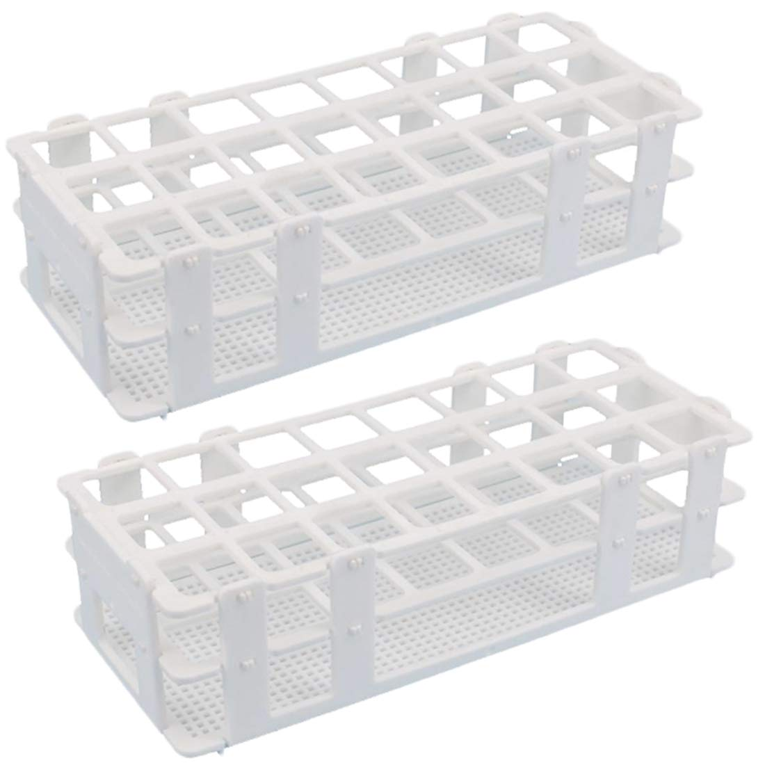 Plastic Test Tube Rack - Buytra 2 Pack 24 Holes Lab Test Tube Rack Holder for 25mm Test Tubes, Detachable, White by Buytra