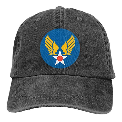 Rigg-cap US Army Air Corps Hap Arnold Wings Adjustable Ball Cotton Washed Denim Hats Black