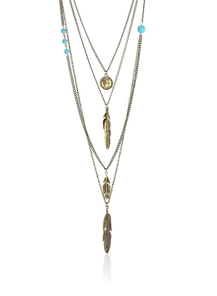 Coin Feather Layered Antique Gold Necklace By Thingalicious