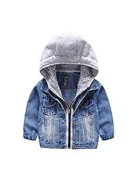 Little Boys Girls Cardigan Coat Baby Denim Hoodies Zipper Jackets Outerwear