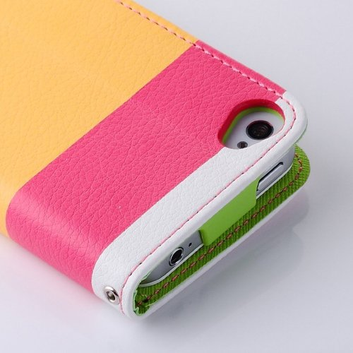 Generic Leder Wallet Flip Hülle Case mit Magnetverschluß für Apple iPhone 4 4S inkl. Displayschutzfolie + Stylus - Rot+Gelb+Pink