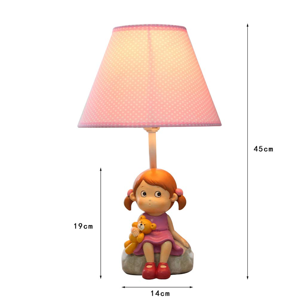 Children's Table Lamp - Warm and Lovely Little Girl Table Lamp, Bedroom Bedside Creative Fashion Cartoon Children's Room Table Lamp Decoration (Size : M) by High-quality table lamp (Image #4)