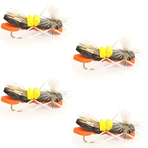 The Fly Fishing Place Parachute Chernobyl Ant Black/Orange Trout Dry Fly Fishing Flies - Set of 4 Flies Size 12