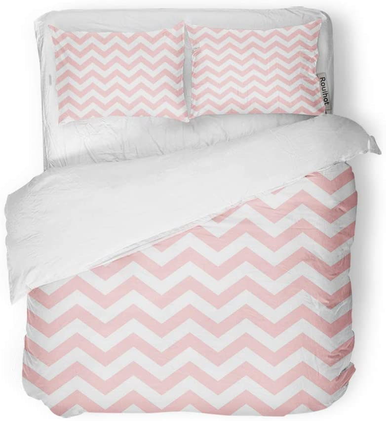 rouihot Duvet Cover Set Queen/Full Size Pink Abstract Chevron Zigzag Pattern Red Artistic Bright Cream 3 Piece Microfiber Fabric Decor Bedding Sets for Bedroom
