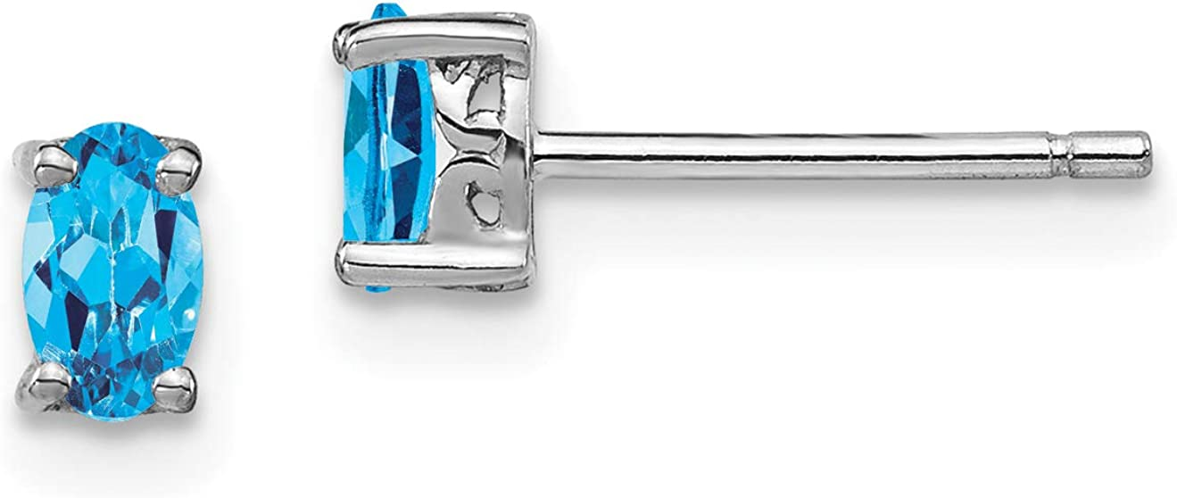 Sterling Silver Rhodium-plated 5x3mm Oval Swiss Blue Topaz Post Earrings December
