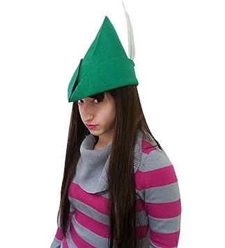 Peter Pan Elf sombrero de fieltro - de fieltro verde Elf sombrero con pluma  para Peter 925bd172188