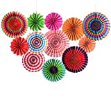 12pcs Fiesta Party Decorations Mexican Fiesta Hanging Paper Fans Bright Color Cinco De Mayo Party Decorations for Bridal, Wedding, Anniversary, Birthday, Christmas Party