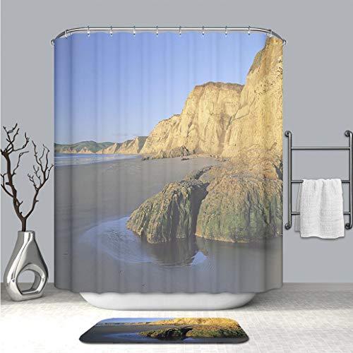 BEICICI Creative Shower Curtain and Bath mat Rug Drakes Beach Fabric Bathroom Curtains with Non-Slip Floor Doormat - Canister Drake Set