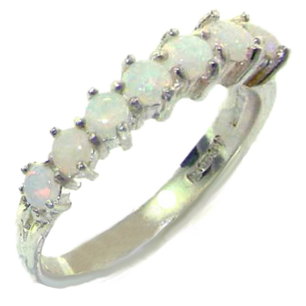 925 Sterling Silver Real Genuine Opal Womens Eternity Ring - Size 7
