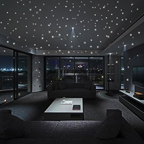 Leewos Hot Sale Glow In The Dark Star Wall Stickers Round Dot Luminous Wall Decals Kids Room Decor Mural 407pcs (Glow In The Dark Stars Under $1)