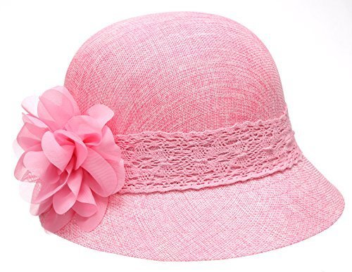 Pink Lace Hat - Women's Gatsby Linen Cloche Hat With Lace Band And Flower - Pink