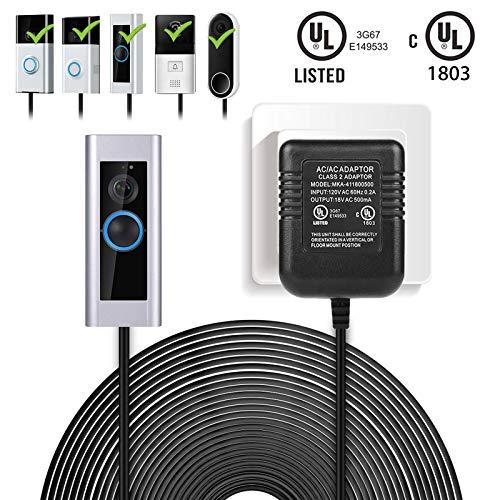 EEEKit 20 Feet Power Adapter for Ring Video Doorbell 2 / Ring Video Doorbell Pro, Long Cable Power Supply Battery Charger for Ring Video Doorbell 2/Pro