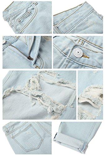 Pantaloni Jeans Vita Azzurro Casuale Sdrucito Strappato Denim Destroyed Alta Donne Homieco™ Distrutto wvqTUPI