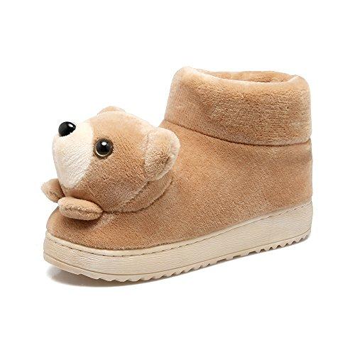 Y-Hui Otoño e Invierno niños casa matriz-subordinada zapatillas de algodón y zapatillas cálidos interiores Calzado Antideslizante,24-25 (15-16 15 cm Longitud interior),para adultos caqui