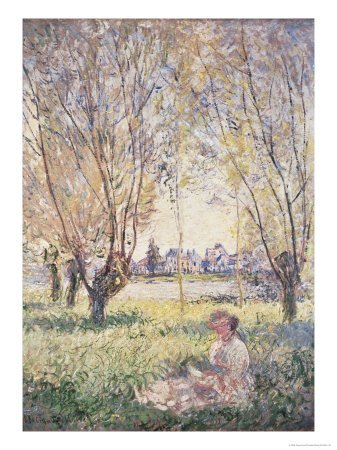 Woman Seated under the Willows Giclee Poster Print by Claude Monet, 12x16