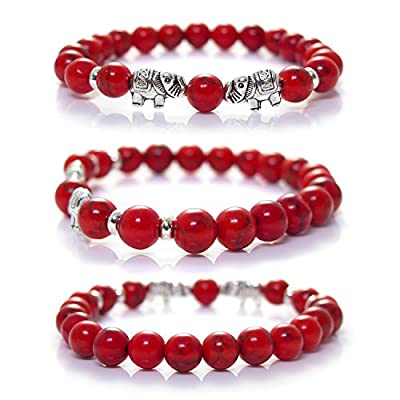 Red Howlite Elephant Bracelet By Kanti Design