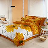 TheFit Paisley Bedding for Adult T124 Sunflower Duvet Cover Set 100% Cotton, Queen King Set, 4 Pieces (Queen)