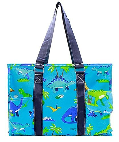 N. Gil All Purpose Organizer 18'' Large Utility Tote Bag II (Dinosaur Navy Blue) by N.Gil
