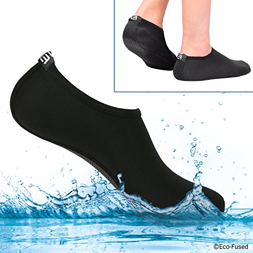 Eco-Fused Women's Water Socks with Elastic, Quick Dry, Breathable Fabric and Non-Slip Rubber Sole - Extra Comfort – Yoga, Beach, Pool (Water Socks: Black, (S) Women - 5-7)