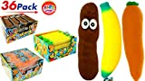 JA-RU Stretchy Banana, Carrot and Poopster (36 Total in 3 Display Boxes) Plus Bouncy Ball Stretches Long, Soft, Delicious. 12x6448-3340-3342p