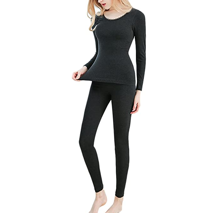 bf9cd45ce Zhhlinyuan Lace Scoop Neck Keep Warm Top   Bottom Ultra Thin Thermal ...