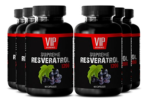 Resveratrol Premium Powder 1200mg - Premium Red Wine Extract - Maximum Strength Super Blend (6 Bottles 360 Capsules) by VIP VITAMINS