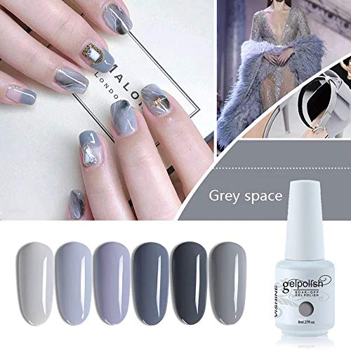 Vishine Gel Nail Polish Set of 6 Gray Series Nail Polish Kit Soak Off UV Gel Nail Lacquer Nail Art Manicure New 2019 Starter Gift Set 8ml