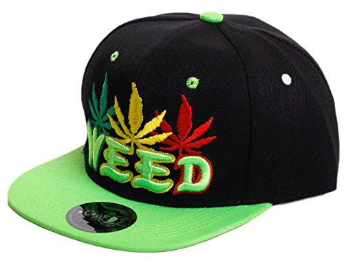 Weed-Marijuana-Leaf-Classic-Snapback-Flat-Visor-Hat-Cap-Includes-Free-Bandana-Weed-Letters-One-Size-LimeBlack