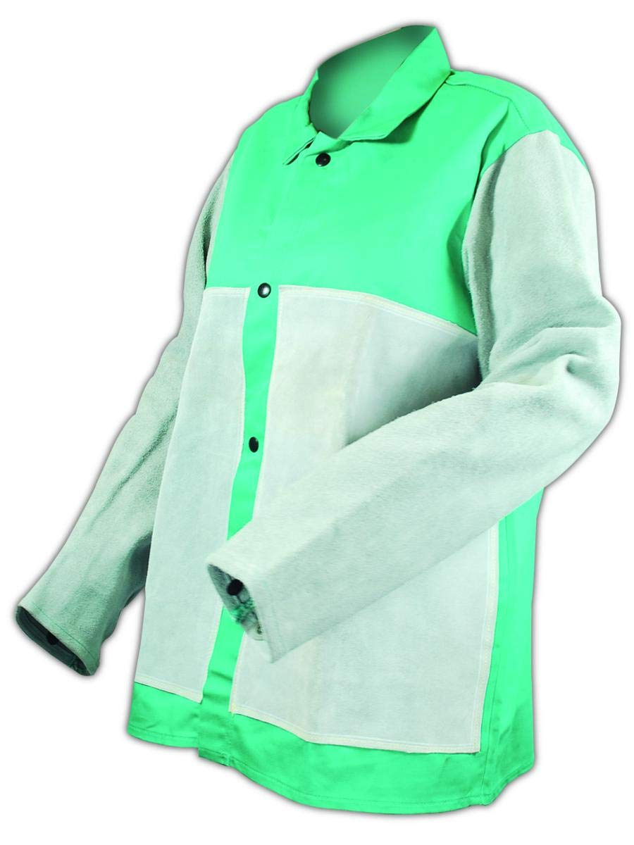 Magid SparkGuard 1830LSFLP Green Flame Resistant Jacket with Leather Sleeves and Front Patches (1 Jacket)