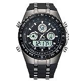Watch,Watches Men,Digital Analog Watch Fashion Sport Multifunction Waterproof Alarm Date LED Black Rubber Wrist Watch