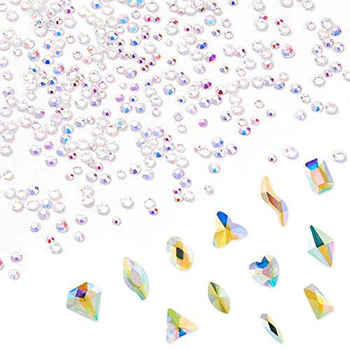 - Outuxed 3000Pcs Crystal AB Flatback Rhinestones Set Nail Art Rhinestones (120+2880Pcs) Ultra Mini 1.4mm and 2mm Round Glass Charms Diamonds and 120 Large AB Rhinestones for Nail Crafts