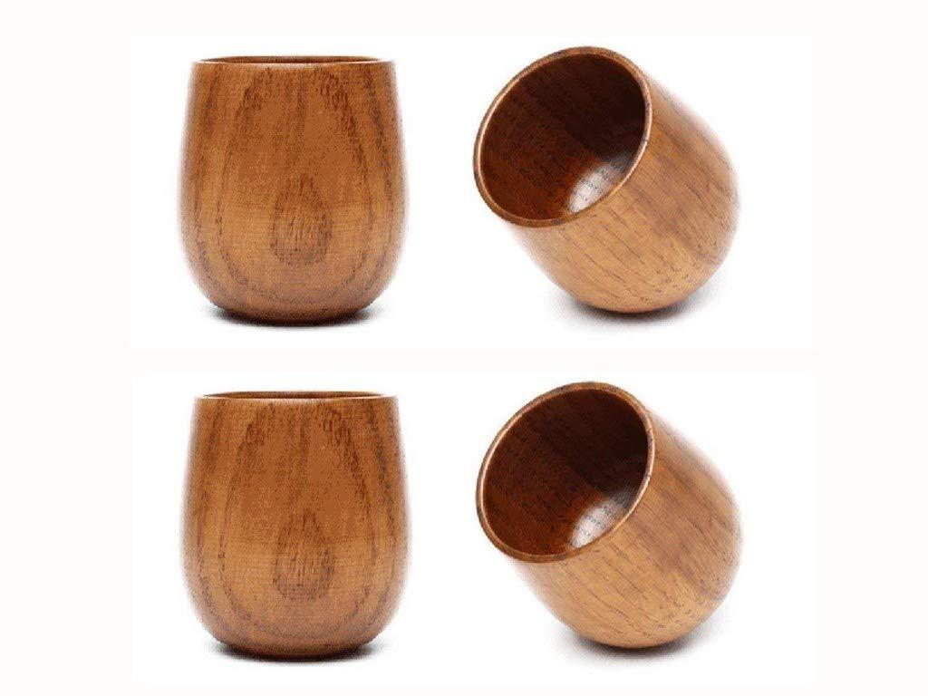 JKLcom Wooden Tea Cups Top Grade Natural Solid Wood 250ml Tea Cup 4 Pack, Wooden Teacups Coffee Mug Wine Mug for drinking Tea, Coffee, Wine, Beer, Hot Drinks
