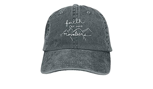 2018 Adult Fashion Cotton Denim Baseball Cap Our Faith Can Move Mountains 1-1 Classic Dad Hat Adjustable Plain Cap