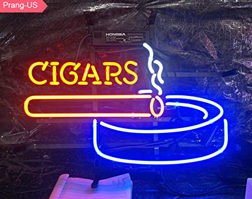 Prang-US Cigars Neon Signs 17×14 inch, Real Neon Signs Made with Glass Tubes, Brilliant Neon Open Sign. Eye-catching Neon Beer Sign. (Led Cigar Sign)