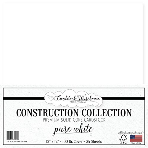 Paper - 12 x 12 inch PREMIUM 100 LB. COVER from - 25 Sheets from Cardstock Warehouse (Smooth Cardstock 12x12 Paper)
