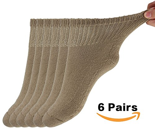 MD Diabetic Socks Mens and Womens Half Cushion Circulatory Quarter Socks for All Seasons Loose Fit 6 Pack 9-11 Brown by MD
